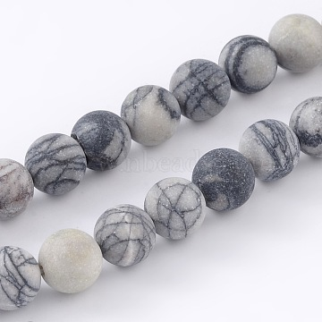 Round Frosted Natural Black Silk Stone/Netstone Bead Strands, 8mm, Hole: 1mm; about 46pcs/strand, 15.1inches(G-M248-8mm-03)