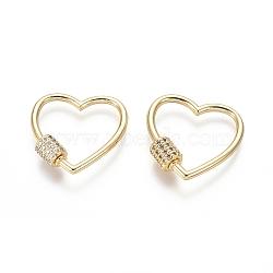 laiton micro pavé zircone cubique vis verrouillage mousqueton porte-clés, charm mousqueton, pour la fabrication de colliers, cœur, or, 22x22x2 mm(ZIRC-I031-12G)