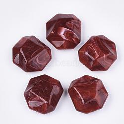 perles acryliques, style de pierres précieuses imitation, facettes, polygone, firebrick, 35x32.5x16 mm, trou: 2.5 mm(OACR-T011-166D)