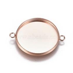 304 настройки разъема кабошона из нержавеющей стали, чашки безель с краем, плоские круглые, розовое золото, лоток: 20 мм; 27.5x21.8x2 мм, отверстия: 1.8 mm(X-STAS-G127-14-20mm-RG)