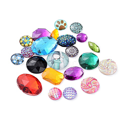 Mixed Findings, Links & Cabochons, Mixed Color, 10~25x10~20x4~6mm, Hole: 0~1mm, about 167pcs/100g(FIND-XCP0002-04)