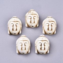 Perles de turquoise synthétique, teint, tête de bouddha, beige, 28x20x12mm, Trou: 2.5mm(X-TURQ-H016-1)