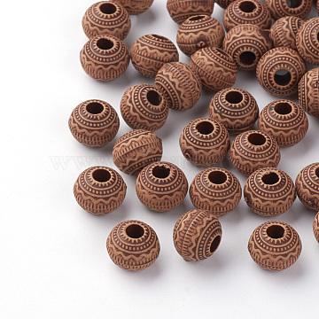Imitation Wood Acrylic European Beads, Large Hole Beads, Round, Saddle Brown, 11x9mm, Hole: 4mm(X-SACR-Q186-13)