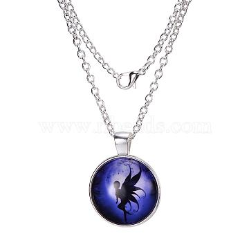 Fairy Pattern Flat Round Glass Pendant Necklaces, Halloween, with Alloy Chains, Silver Color Plated, 18 inches(X-NJEW-N0051-027D-02)