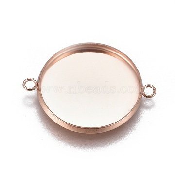304 Stainless Steel Cabochon Connector Settings, Plain Edge Bezel Cups, Flat Round, Rose Gold, Tray: 20mm, 27.5x21.8x2mm, Hole: 1.8mm(X-STAS-G127-14-20mm-RG)