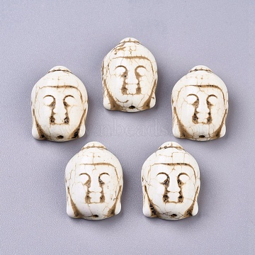 Synthetic Turquoise Beads, Dyed, Buddha Head, Beige, 28x20x12mm, Hole: 2.5mm(X-TURQ-H016-1)