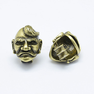 Brass Man Beads, Long-Lasting Plated & Environmental, Cadmium Free & Nickel Free & Lead Free, Antique Bronze, 22x19x17mm, Hole: 4mm, 7x12mm(KK-P130-057AB-NR)