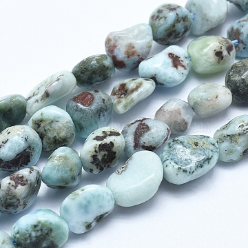 Natural Larimar Bead Strands, Nuggets, 5~8mm, Hole: 0.8mm; about 45~47pcs/strand, 15.7 inches(40cm)(X-G-E483-47)