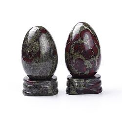 Natural Dragon Bloodstone Home Decorations, Egg Stone, 44~47x30mm(G-K290-08)