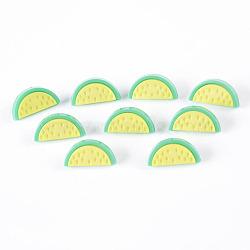 Boutons en acrylique, 1-trou, teint, pastèque, greenyellow, 20x10x4mm, Trou: 3x2mm(X-BUTT-E056-04)
