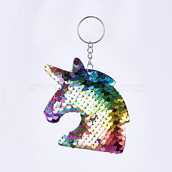 porte-clés, avec des paillettes en plastique, porte-clés et chaîne en fer, licorne, platine, coloré, 118~121 mm; Pendentif: 87x81x12 mm(X-KEYC-F024-D01)