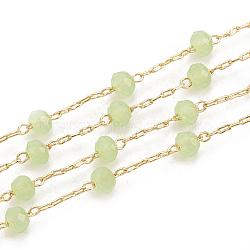 chaînes de perles en laiton faites à la main, soudé, avec bobine, avec des perles de verre à facettes, réel 18 k plaqué or, lightgreen, 3x2 mm; sur 25 m / rouleau(CHC-N015-03D)