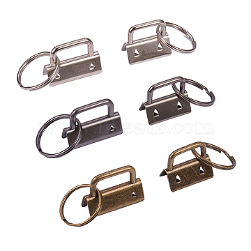 PandaHall Elite Iron Split Key Rings, Keychain Clasp Findings, with Ribbon Ends, Gunmetal & Antique Bronze & Silver, 24pcs/set(IFIN-PH0023-61)