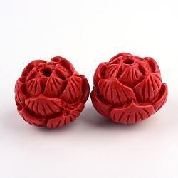 Perles de lotus de cinabre, firebrick, 19x23x23mm, Trou: 3mm(CARL-Q004-28)