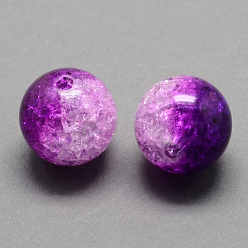 Two Tone Transparent Crackle Acrylic Beads, Half Spray Painted, Round, Purple, 12mm, Hole: 2.5mm(X-CACR-R009-12mm-04)