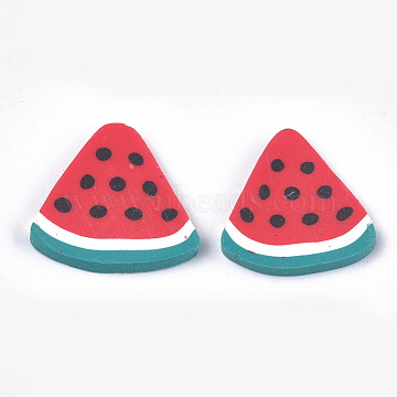 Handmade Polymer Clay Cabochons, Watermelon, Red, 20~21x20~22x2~3mm(CLAY-S091-48)