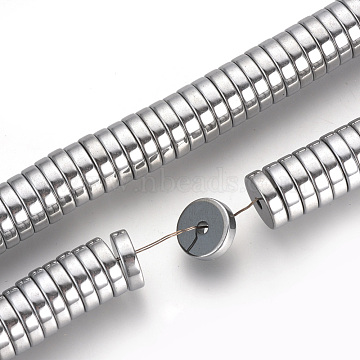 Electroplate Non-magnetic Synthetic Hematite Bead Spacers Strands, Flat Round, Platinum Plated, 6x2mm, Hole: 1mm, about 193pcs/strand, 15.7 inches(X-G-Q486-74I)
