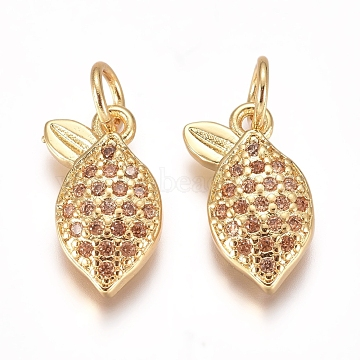 Brass Micro Pave Cubic Zirconia Charms, with Jump Rings, Lemon, PeachPuff , Golden, 12.5x8x2mm, Hole: 3mm(X-ZIRC-I038-04G)