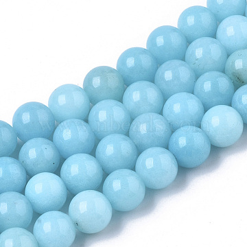 Natural Chalcedony Beads Strands, Dyed & Heated, Imitation Amazonite Color, Round, Cyan, 8.5x8mm, Hole: 1mm; about 49~50pcs/strand, 14.96 inches~15.20 inches(G-T129-03)