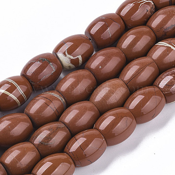 Natural Red Jasper Beads Strands, Oval, 13~15x12~13mm, Hole: 1.2mm; about 27~28pcs/strand, 15.55''(39.5 cm)(G-S364-040)
