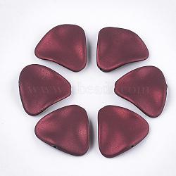 perles acryliques de style caoutchoutées, vague, triangle, cramoisi, 24x26x5.5 mm, trou: 1.5 mm(MACR-T026-18B)