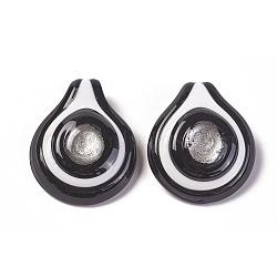 main pendentifs en verre de feuille d'argent, larme, coloré, environ 41 mm de large, 50 mm de long, 9 mm d'épaisseur, trou: 12 mm(X-SLSP196J-1)