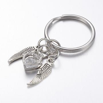 Porte-clés en alliage, avec 316 anneau en acier inoxydable et zircone cubique, Aile et coeur, argent antique, 51.5mm(X-KEYC-JKC00127)