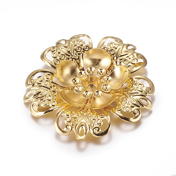Iron Shoe Buckle Clips, Flower, Golden, 42x6.5mm, Fit: 3mm Rhinestone, 4mm Inner Size(X-IFIN-G072-08G)