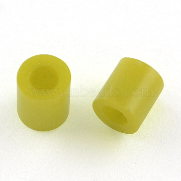 Maxi Fuse Beads, DIY Iron on Beads for Children, Tube, Olive, 8.5~9x9~9.5mm; about 1500pcs/500g(DIY-R013-10mm-A07)