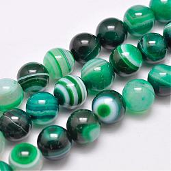 Natural Striped Agate/Banded Agate Bead Strands, Dyed & Heated, Round, Grade A, SeaGreen, 12mm, Hole: 1mm; about 32pcs/strand, 15.1