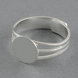 Adjustable Brass Pad Ring Settings, Flat Round, Silver Color Plated, Tray: 10mm; 18mm(X-MAK-S023-10mm-JP006S)