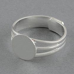 laiton réglable paramètres de sonnerie de pad, plat rond, argent, plateau: 10 mm; 18 mm(X-MAK-S023-10mm-JP006S)