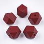 Dark Red Polygon Wood Beads(X-WOOD-Q040-017A-06)