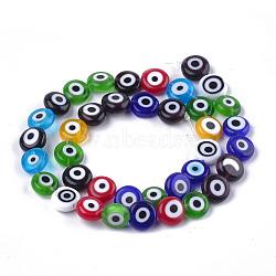 ручной сглаза бусины бисер нитей, плоские круглые, cmешанный цвет, 9.5~10.5x3.5~4 mm, отверстия: 1.2 mm; о 38 шт / прядь, 14.1(LAMP-S191-02C-13)
