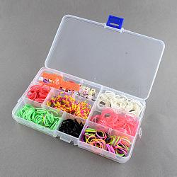 Diy groupes de métiers à tisser recharges kit avec des bandes de caoutchouc, s-clips, crochet et perles alphabet, couleur mixte, 175x100x23mm(DIY-R009-03)