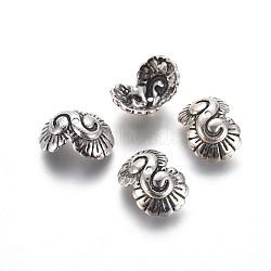 Capsules de perles en argent sterling thaïlandais apétaleuses, argent antique, 13x10x6mm, Trou: 1mm(STER-G029-73AS)