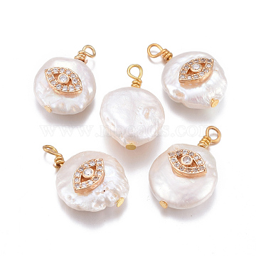 Natural Cultured Freshwater Pearl Pendants, with Brass Micro Pave Cubic Zirconia Findings, Nuggets with Evil Eye, Golden, Clear, 17~26x11~16x5~11mm, Hole: 1.6~2mm(PEAR-L027-24C)