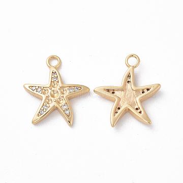 Brass Pendant Rhinestone Settings, with Cubic Zirconia, Starfish/Sea Stars, Clear, Real 18K Gold Plated, Fit for 0.5~1.5mm Rhinestone, 15.5x13.5x2mm, Hole: 1.5mm (X-KK-S350-326)