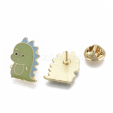 Alloy Brooches, with Enamel, Iron Pins and Brass Butterfly Clutches, Dinosaur, Light Gold, Olive, 22x15.5x11~12mm, Pin: 1mm(X-PALLOY-S132-075)