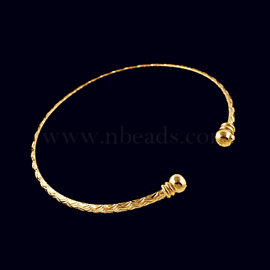 Perfect Design Real 18K Gold Plated Brass Torque Cuff Bangle(BJEW-EE0001-05)-3