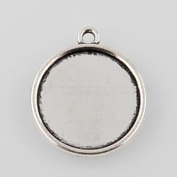 style tibétain antique alliage d'argent rondes plat paramètres pendentif cabochon, plateau: 20 mm; 26x23x2 mm, trou: 1.5 mm(X-TIBEP-M022-45AS)