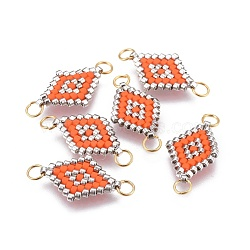MIYUKI® & TOHO® connecteurs japonaises en perles rocailles manuells, Avec anneau de saut en laiton, motif de tissage, losange, orange foncé, 18x12~12.5x1.8mm, Trou: 2.5mm, 1.8 mm d'épaisseur.(SEED-A027-I08)