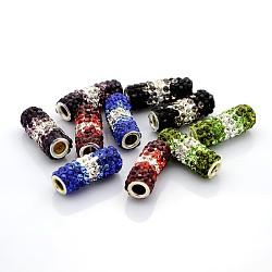 Полимерная глина бусины класс горный хрусталь труб, с двойными ядрами из латуни, разноцветные, 22~24x9 мм, отверстие : 1 мм(RB-F004-01)