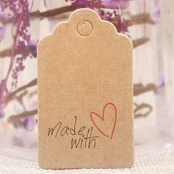 Étiquettes-cadeaux en papier, étiquettes de suspension, pour les arts et l'artisanat, pour le mariage, La Saint-Valentin, rectangle avec mot fait avec amour, burlywood, 50x30x0.4mm, Trou: 5mm(CDIS-P001-H05-A)