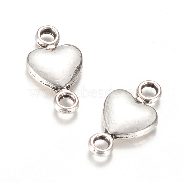 Tibetan Style Alloy Links connectors, Heart, Cadmium Free & Nickel Free & Lead Free, Antique Silver, 15x8x3mm, Hole: 2mm(X-TIBE-Q064-32AS-NR)