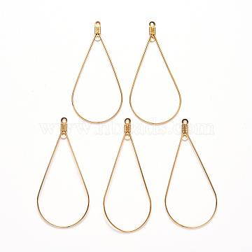 304 Stainless Steel Wire Pendants, Hoop Earring Findings, Teardrop, Golden, 22 Gauge, 48.5x23x0.6mm, Hole: 1.2mm(X-STAS-S103-08G)