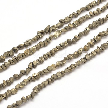 Natural Pyrite Nuggets Beads Strands, 3~5x3~5mm, Hole: 1mm; about 15.7inches(X-G-I125-84)