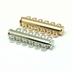 fermoirs de verrouillage à glissière magnétique en alliage, 6 brin, 12-trou, Tube, couleur mélangée, 36x13.5x7 mm, trou: 2 mm(PALLOY-P103-05)