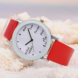 Montres de poignet en cuir d'unité centrale de quartz des femmes, avec la tonalité de platine tête de montre d'alliage, rouge, 225x18 mm; cadran montre: 46x39x8 mm; boitier montre: 30 mm(WACH-O006-01F)