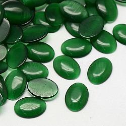 Кабошоны кошачьего глаза, овальные, зелёные, 25x18x3.5 мм(CE-J005-18x25mm-31)